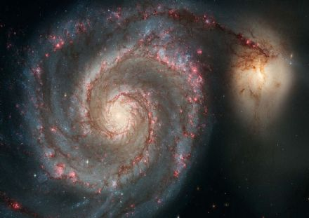 The Whirlpool Galaxy M51. Grand Design Spiral Galaxy Space Print/Poster. Sizes: A4/A3/A2/A1 (003241)